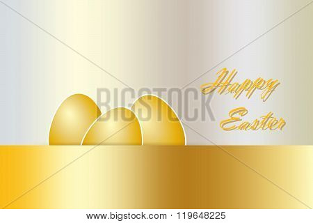 Golden Happy Easter card vector