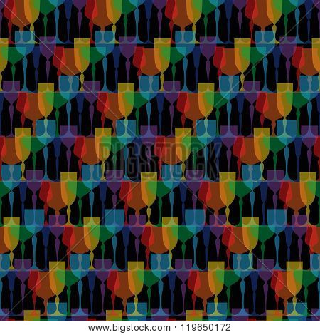 Colored glassware seamless pattern. Background, texture, textile