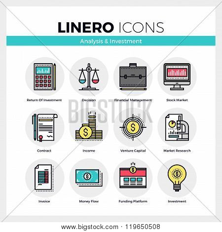 Analysis And Investment Linero Icons Set