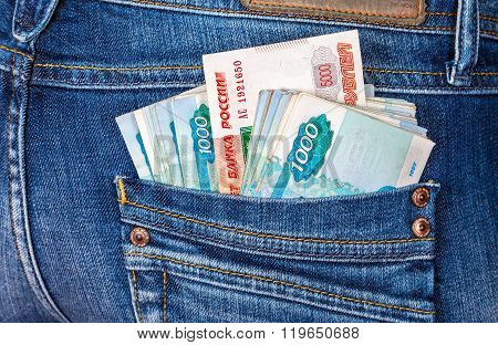 Russian Rouble Banknotes Sticking Out Of The Back Jeans Pocket