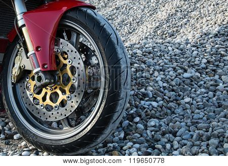 Red ducati 996s motorcycle front brake