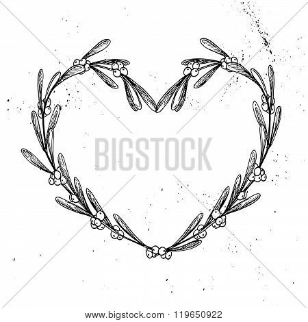 Hand Drawn Vintage Vector Illustration. Decorative Laurel Wreath In Shape Heart. Mistletoe. Tribal D