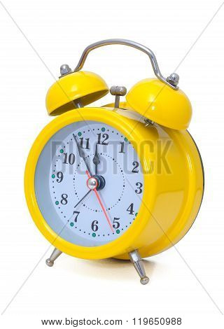 Clock. Alarm Clock, In A Yellow Box