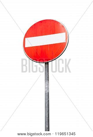 Round Red Sign No Entry On Metal Pole Isolated