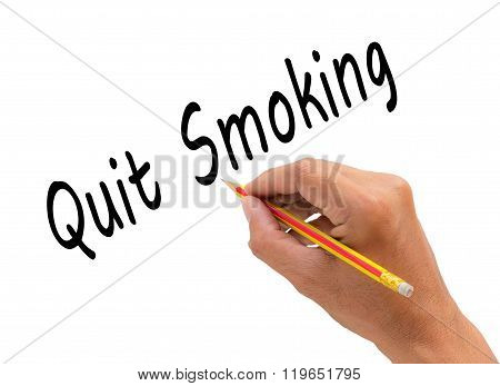 Hand Writing Quit Smoking Word With Pencil