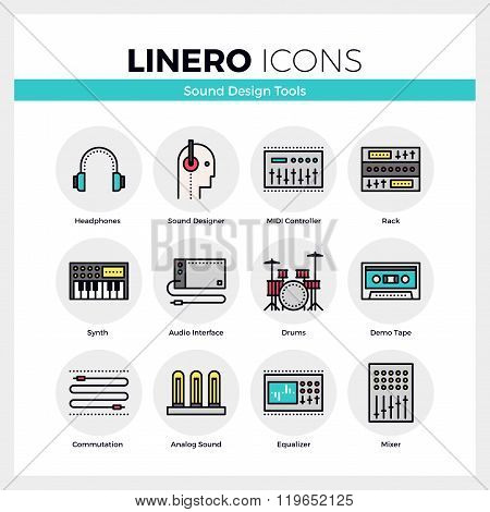 Sound Design Tools Linero Icons Set
