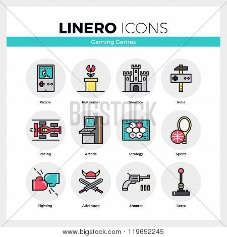 Gaming Genres Linero Icons Set