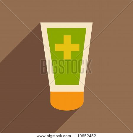 Flat with shadow icon and mobile application medical ointment