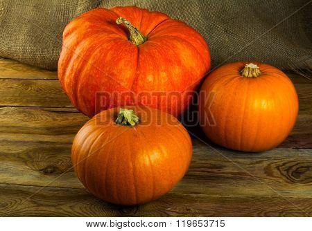 Pumpkins On Dark Wooden Background