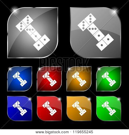 Domino Icon Sign. Set Of Ten Colorful Buttons With Glare.