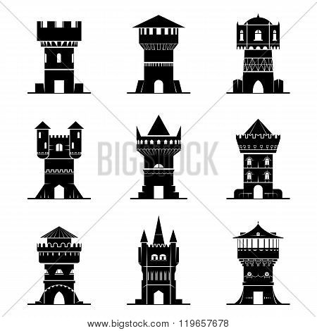Set Of Black-and-white Tower Icons