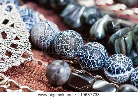 Dragon Veins Agate And Hematite Beads Close Up