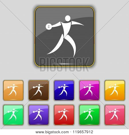 Discus Thrower Icon Sign. Set With Eleven Colored Buttons For Your