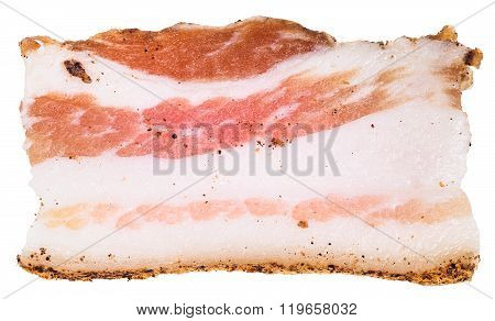 One Slice Of Speck Isolated On White