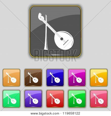 Balalaika Icon Sign. Set With Eleven Colored Buttons For Your Site.