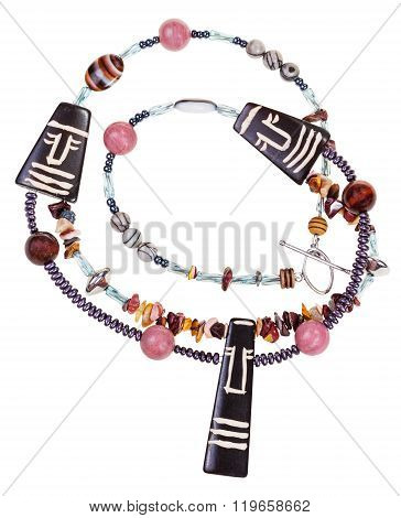 Necklace From Natural Gemstones And Carved Figures