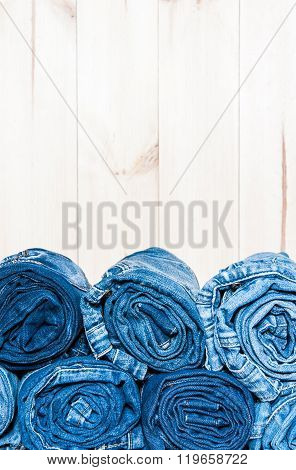 rolled  jeans with copy space, close up