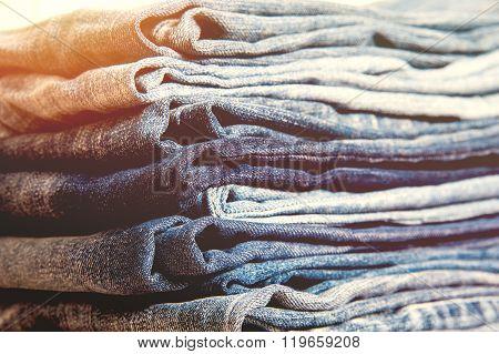 Lot of different blue jeans Blue Jeans, vintage color style
