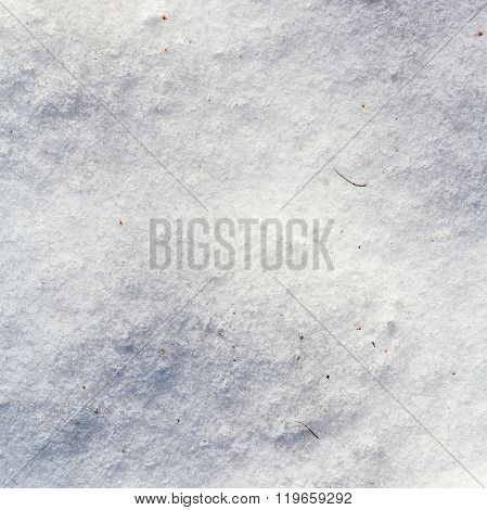 Ice Crust On Snow In Cold Winter Day