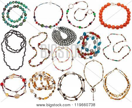 Set Of Necklaces From Natural Gemstones Isolated