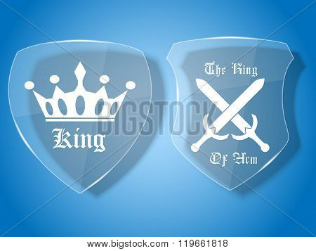 Shield Glass Medieval With Badge