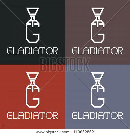 Gladiator Monogram . Concept Of Graphic Clipart Work