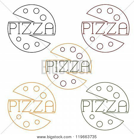 Pizza Labels Craft Line Style . Concept Of Graphic Clipart Work