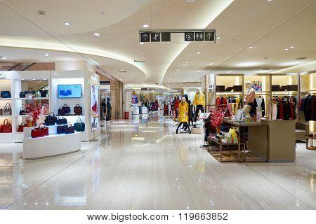 SHENZHEN, CHINA - FEBRUARY 05, 2016: interior of MixC Shopping Mall. MixC Shopping Mall is a large shopping mall located on No.1881, Bao'an Nan Road, Luohu District, ShenZhen, China.