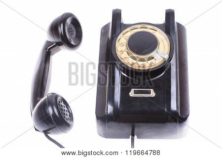 old phone with off hook, contact us concept isolated