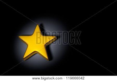 Brilliant Gold Star On Dark Background
