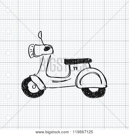 Simple Doodle Of A Scooter