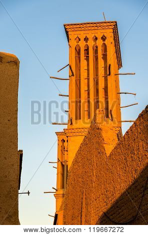Traditional houses in Yazd with windcatcher ventilation towers