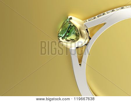 ring with diamond. Sign of love. Fashion jewelry background. Emerald