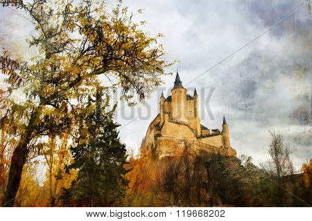 Alcazar castle in Segovia, artwork in painting style