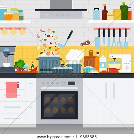 Kitchen with utensils and dishes, home cooking