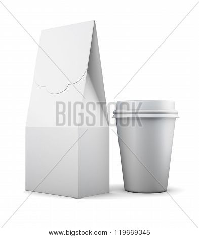 White paper bag and Cup for lunch on white background. 3d render