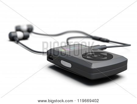 MP3 player closeup on white background. 3d render image