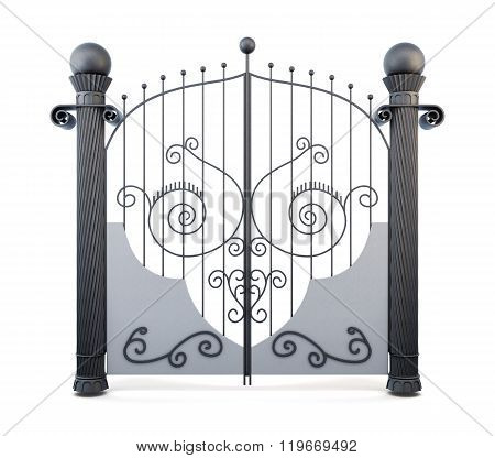 Metal wrought iron gate on a white background. 3d rendering