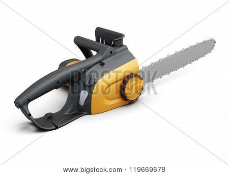 Electric saw isolated on a white background. 3d render image