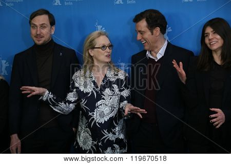 Lars Eidinger, Meryl Streep, Clive Owen,  attend the International Jury photo call during the 66th Berlinale Film Festival Berlin at Grand Hyatt Hotel on February 11, 2016 in Berlin, Germany.