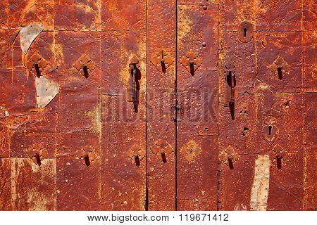 Moscardon church door in Sierra Albarracin of Teruel Spain