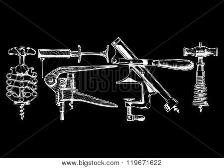 Vector Illustration Set Of Corkscrews