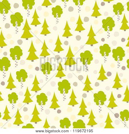 Eurasian tree seamless pattern.