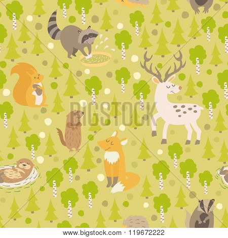 Eurasian animals seamless pattern. Forest abstract map with animals
