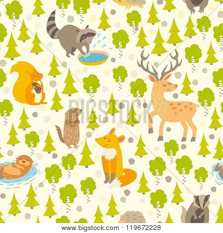 Cute animals seamless pattern. Cute pattern for kids