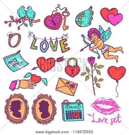 Color set of love elements in sketch style for Valentin's day, heart with key, Cupid, heart with Cup