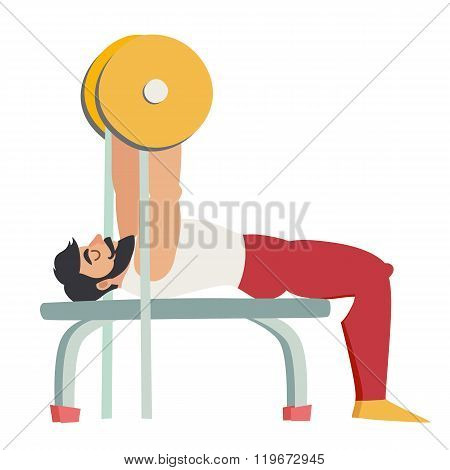 Bench press exercise. Bearded man with muscles coach in the gym