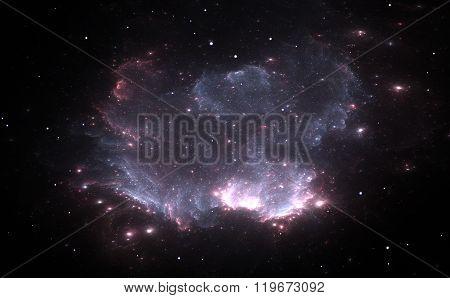 Purple Nebula In Deep Space