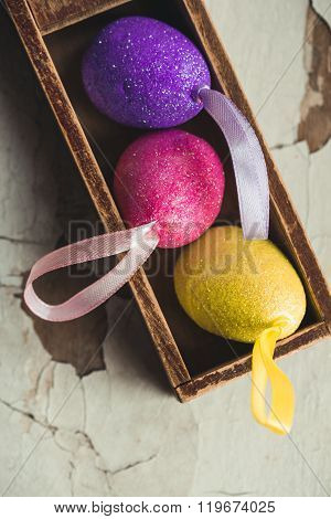 Easter Eggs In A Wooden Box. Special Vintage Toning.