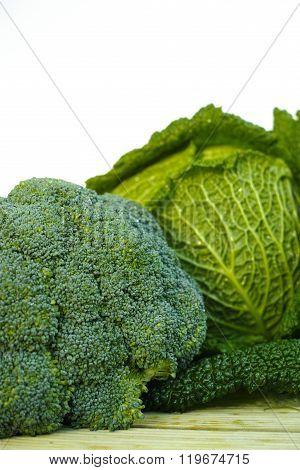 Fresh Organic Green Vegetables On White Background